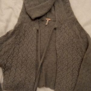 Free People Hooded Cropped Angora Sweater